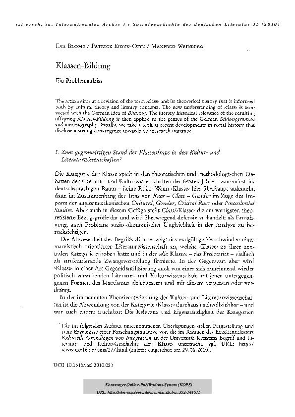 Klassenkampf online datiert