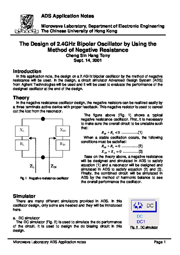 Pdf Microwave Laboratory Ads Application Notes The Design Of 2 4ghz Bipolar Oscillator By Using The Method Of Negative Resistance Zhangju Hou Academia Edu
