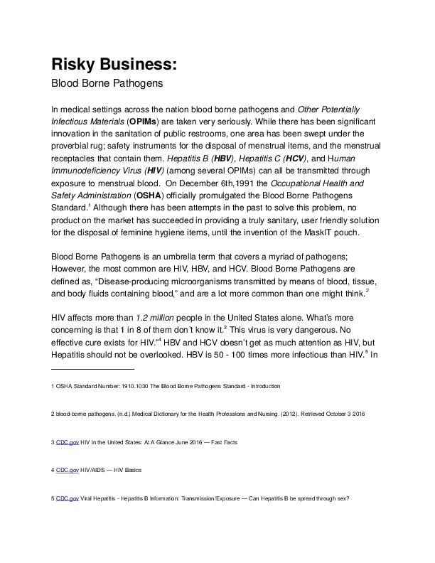 DOC) The Truth of Blood Borne Pathogens As It Relates To Menstruation (Oct.  5, 2016).docx | Josh Mozingo - Academia.edu
