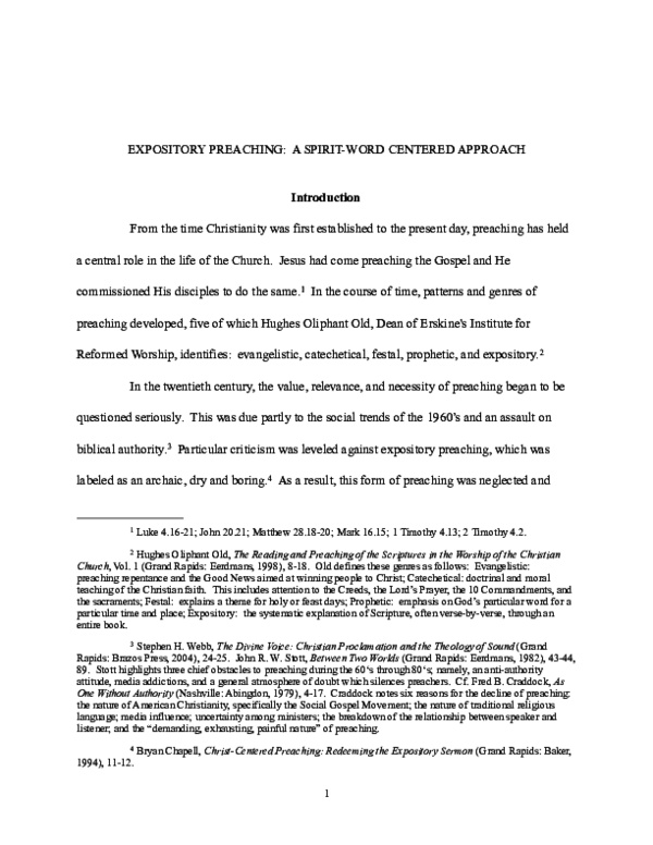 PDF) EXPOSITORY PREACHING: A SPIRIT-WORD CENTERED APPROACH | John C