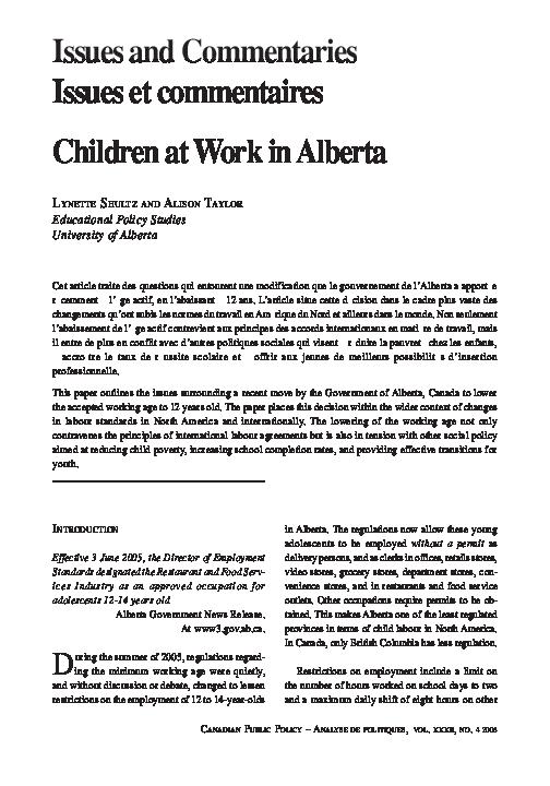 Pdf Children At Work In Alberta Alison Taylor Academia Edu