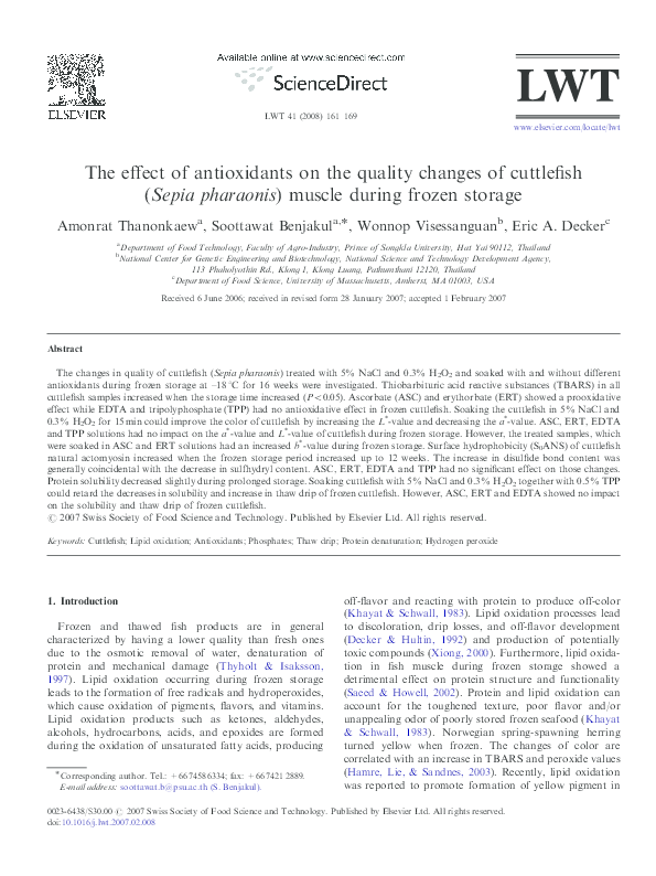 PDF) The effect of antioxidants on the quality changes of