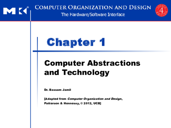 Ppt Chapter 1 Computer Abstractions And Technology Dabdoub Ammar Academia Edu