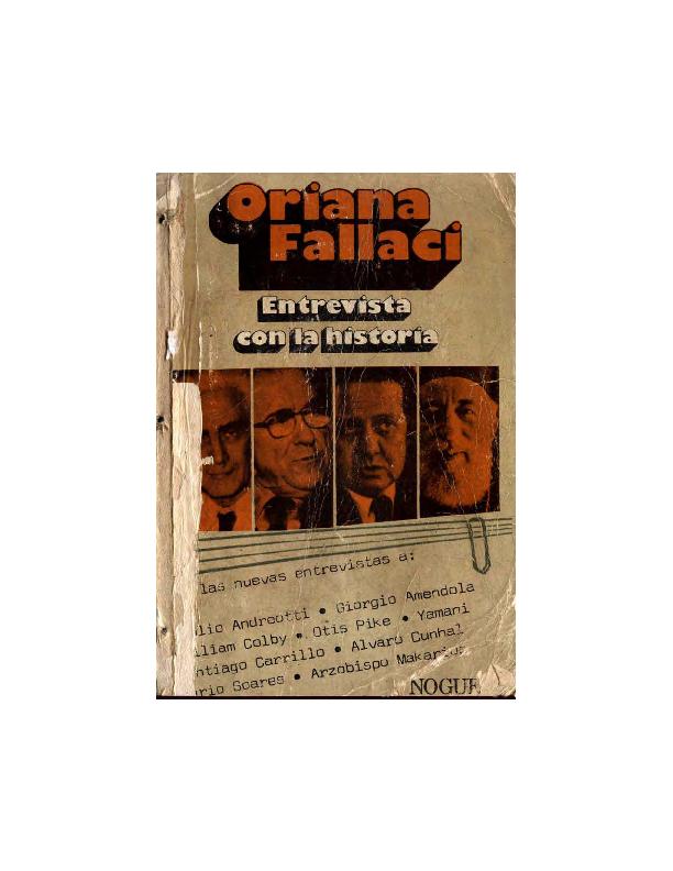 4eef8efab PDF) Entrevista con la historia - Oriana Fallaci | Federico ...