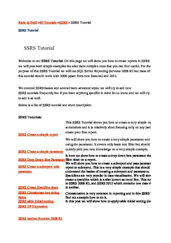 PDF) Ssrs tutorial for beginners 2008 r2 step by step pdf | Aadharsh