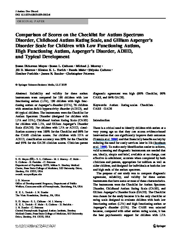 PDF) Comparison of Scores on the Checklist for Autism