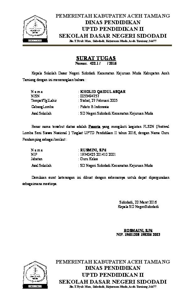 Doc Surat Tugas Sufrizal Spd Academiaedu