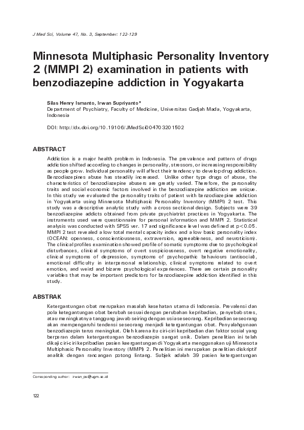 Pdf Minnesota Multiphasic Personality Inventory 2 Mmpi 2 Examination In Patients With Benzodiazepine Addiction In Yogyakarta Irwan Supriyanto And S Henry Academia Edu