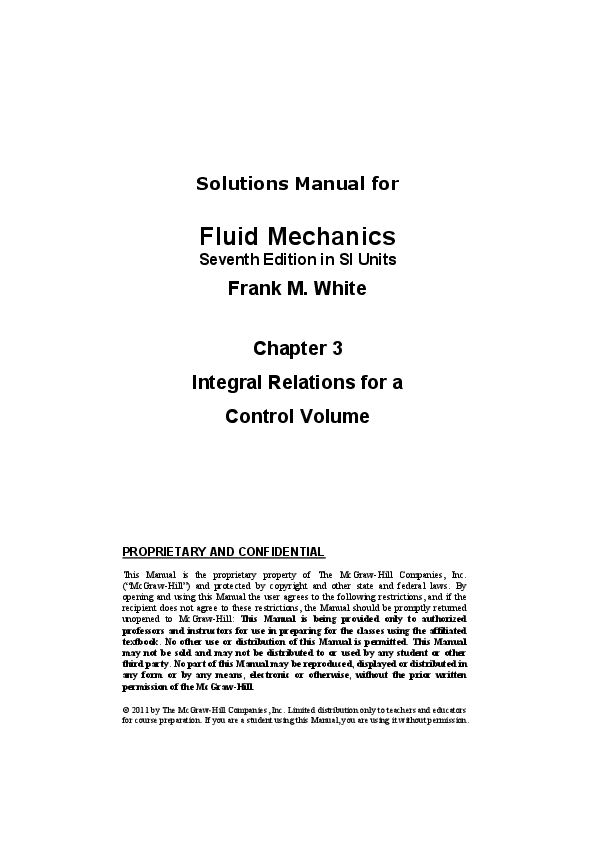 Pdf Solutions Manual For Fluid Mechanics Seventh Edition In Si Units Integral Relations For A Control Volume Proprietary And Confidential 승철 신 Academia Edu