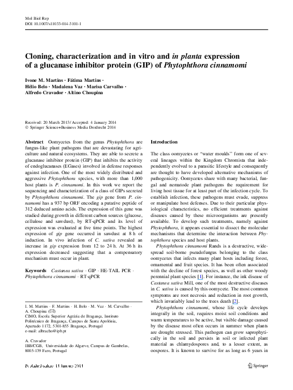 PDF) Cloning, characterization and in vitro and in planta