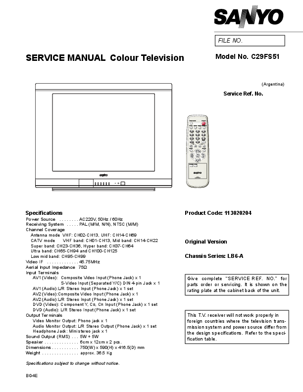PDF) SERVICE MANUAL Colour Television | jose luis Oliva