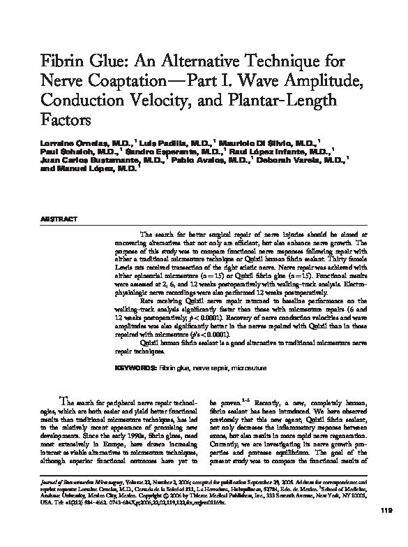 PDF) Fibrin Glue: An Alternative Technique for Nerve
