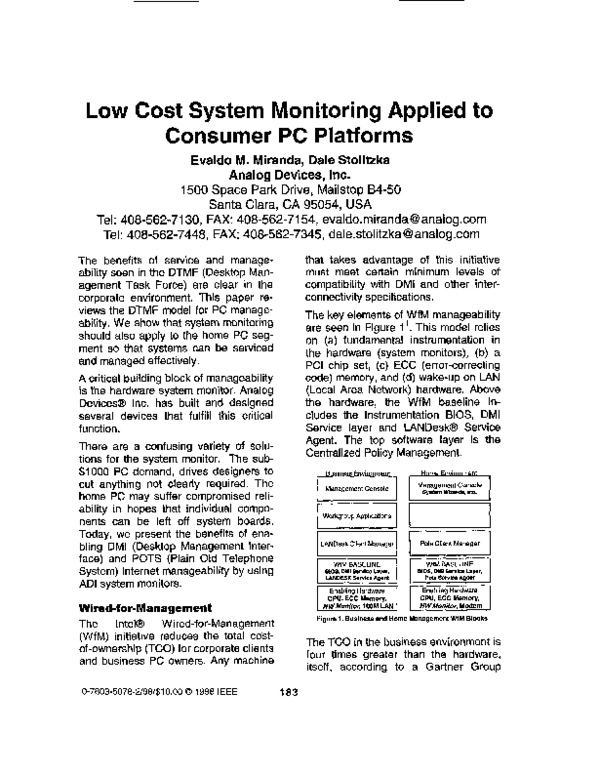 PDF) Low cost system monitoring applied to consumer PC platforms