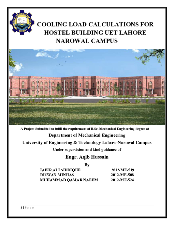 PDF) COOLING LOAD CALCULATIONS FOR HOSTEL BUILDING UET