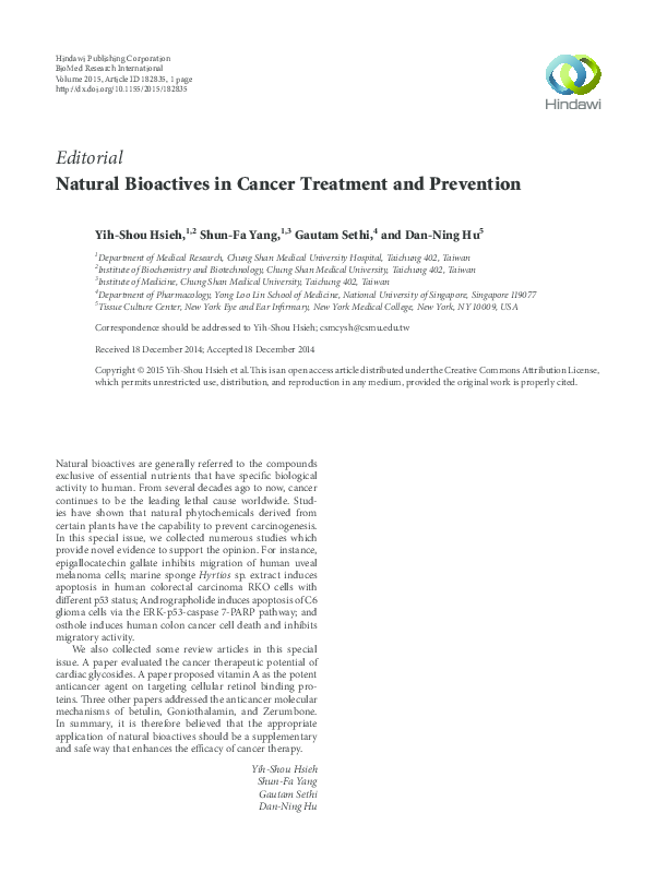 PDF) Natural Bioactives in Cancer Treatment and Prevention