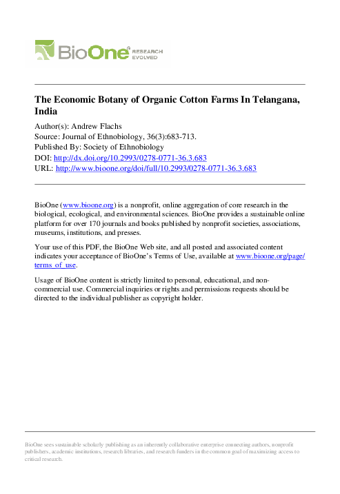 PDF) The Economic Botany of Organic Cotton Farms In