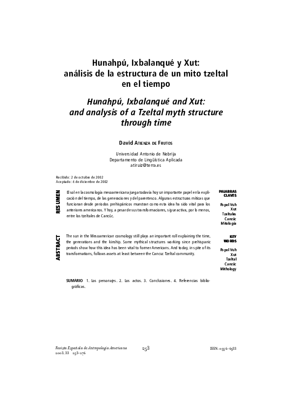Pdf Hunahpú Ixbalanqué Y Xut Análisis De La Estructura De