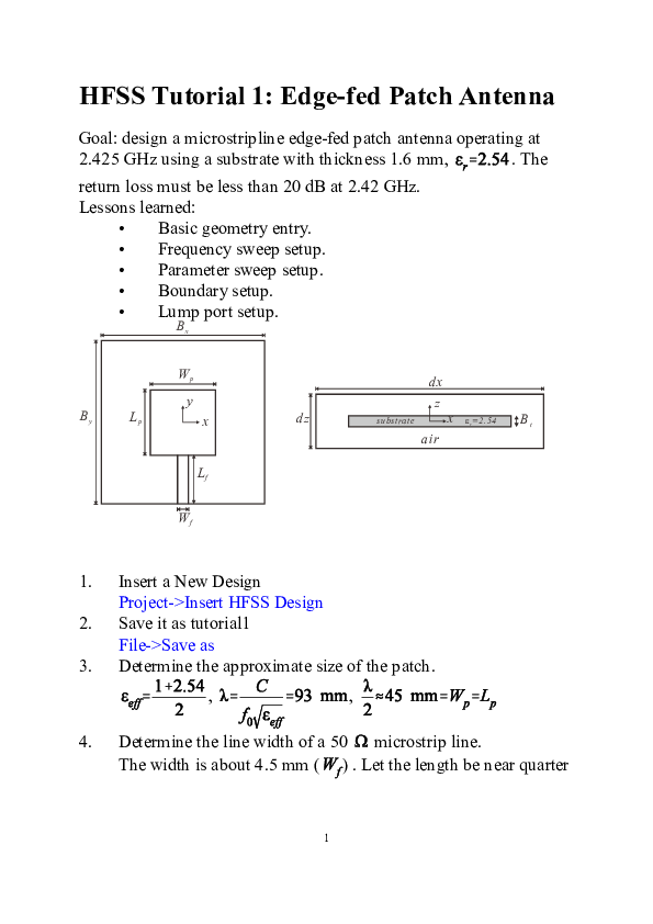 PDF) HFSS tutorial | saravana kumar - Academia edu