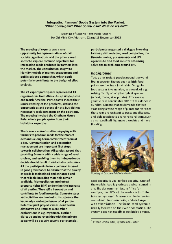 PDF) On-farm conservation: a matter of global concern or local
