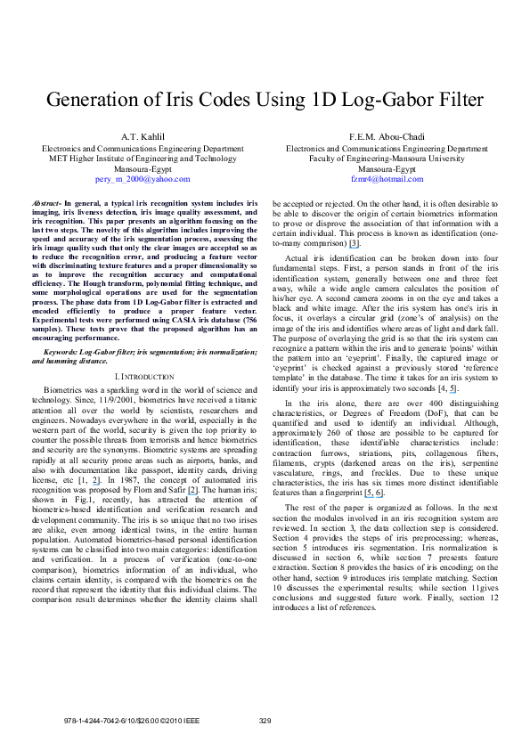 PDF) Generation of iris codes using 1D Log-Gabor filter | fatma abou
