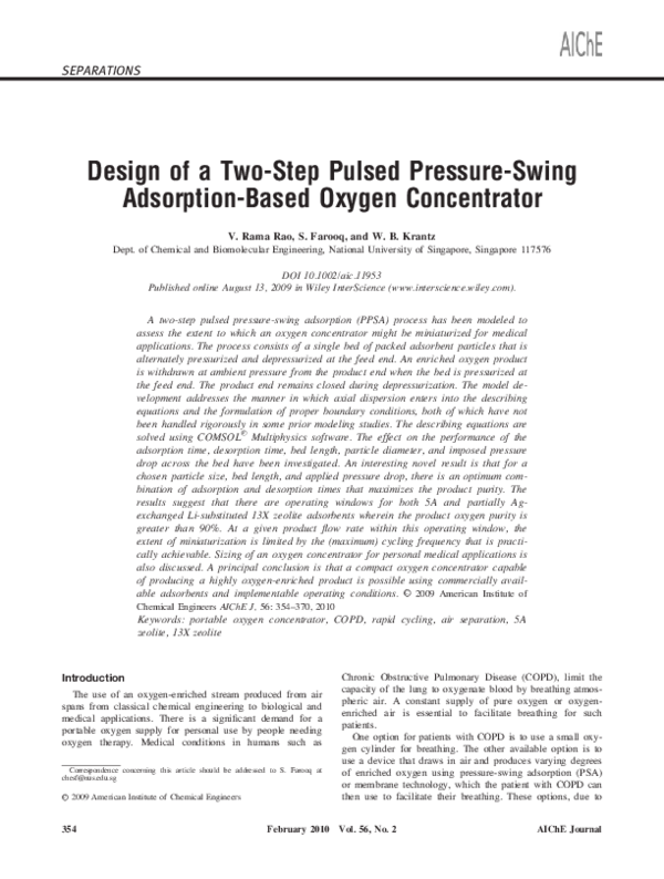 PDF) Design of a two-step pulsed pressure-swing adsorption