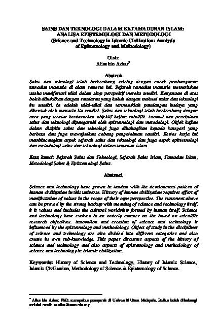 Pdf Sains Dan Teknologi Dalam Ketamadunan Islam Analisa Epistemologi Dan Metodologi Science And Technology In Islamic Civilization Analysis Of Epistemology And Methodology Sn Hanim Academia Edu