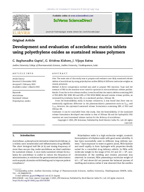PDF) Development and evaluation of aceclofenac matrix