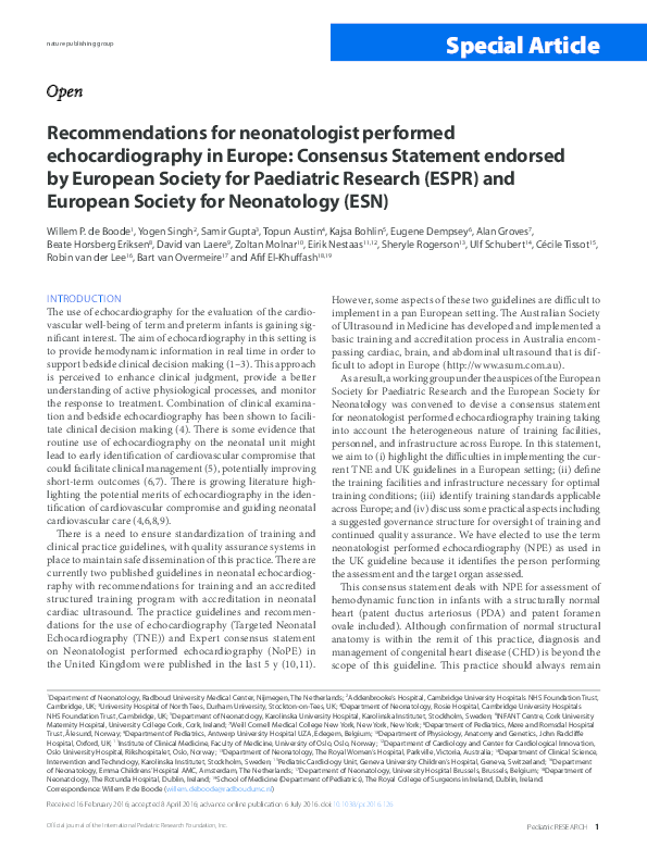 PDF) Recommendations for neonatologist performed