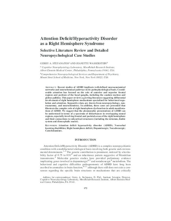 PDF) Attention Deficit/Hyperactivity Disorder as a Right