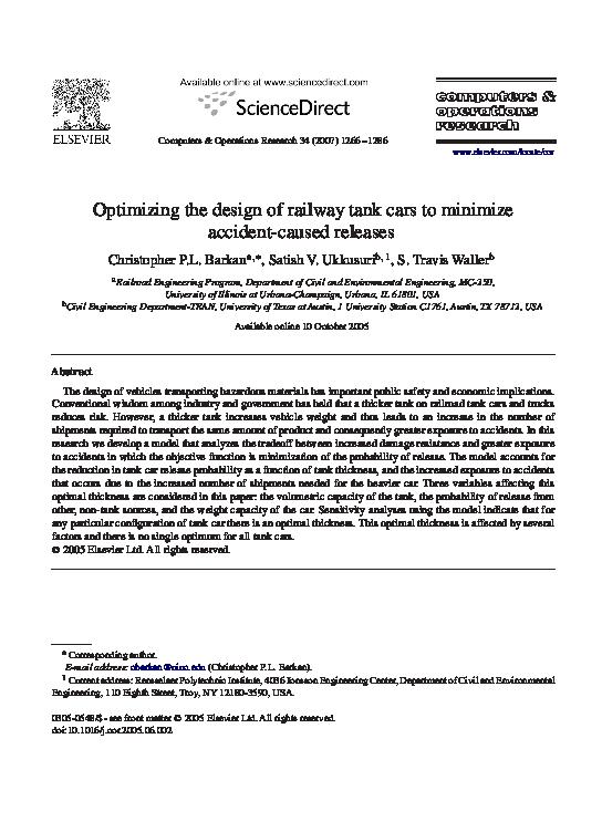 PDF) Optimizing the design of railway tank cars to minimize accident