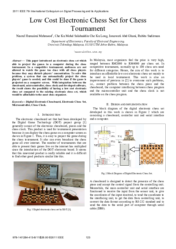 PDF) Low cost electronic chess set for chess tournament | Rubita