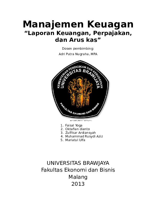 Doc Makalah Manajemen Keuangan Laporan Keuangan Perpajakan Dan Arus Kas Erwin Badare Academia Edu
