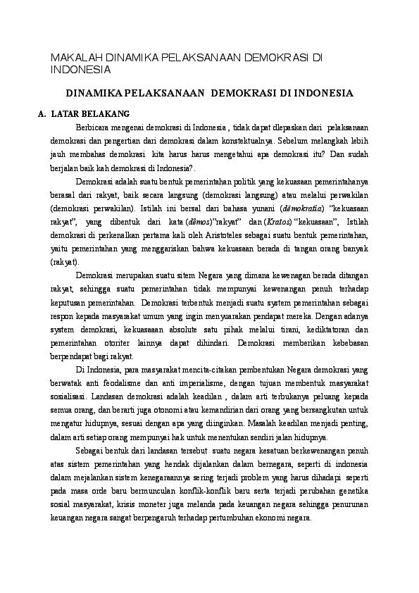 Doc Makalah Dinamika Pelaksanaan Demokrasi Di Indonesia Dinamika Pelaksanaan Demokrasi Di Indonesia Nani Astuti Triana Academia Edu