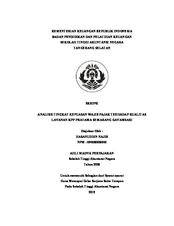 Pdf Kepuasan Wp Terhadap Pelayanan Kpp Pratama Semarang Gayamsari