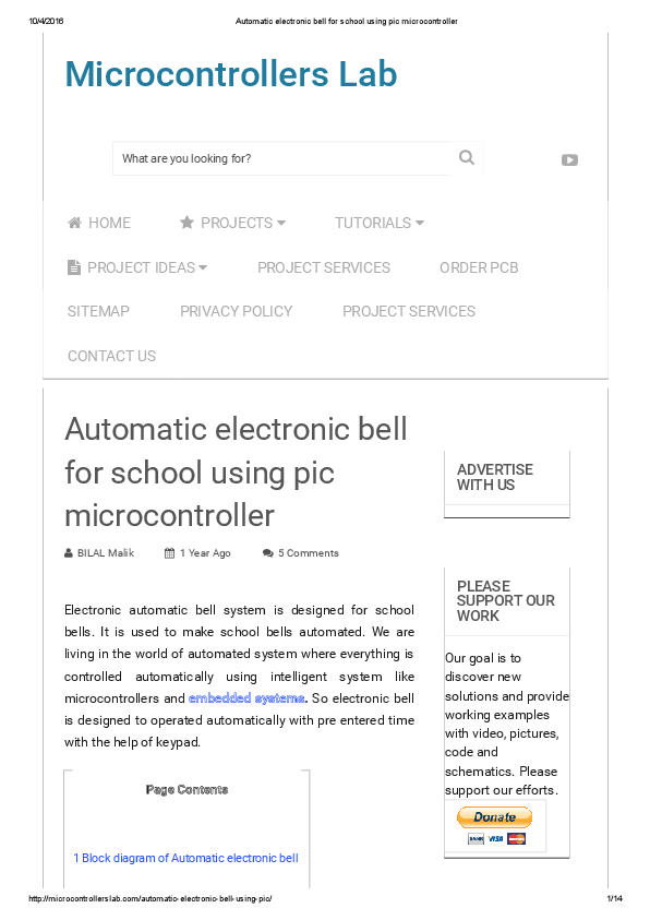 PDF) Automatic electronic bell for school using pic