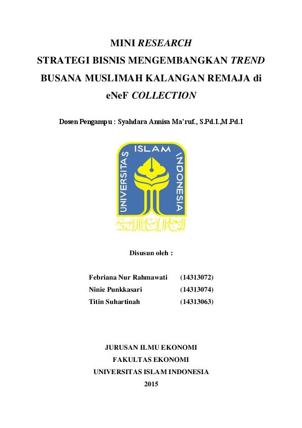 (PDF) MINI RESEARCH STRATEGI BISNIS MENGEMBANGKAN TREND ...