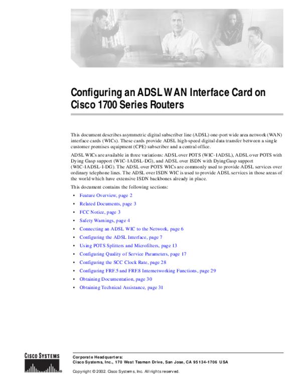 PDF) Configuring an ADSL WAN Interface Card on Cisco 1700