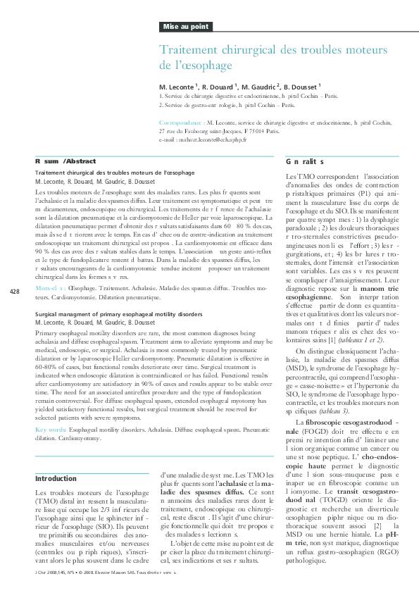 PDF) Traitement chirurgical des troubles moteurs de l'œsophage ...