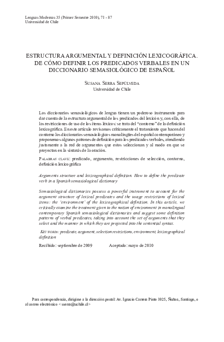 Pdf Estructura Argumental Y Definicion Lexicografica