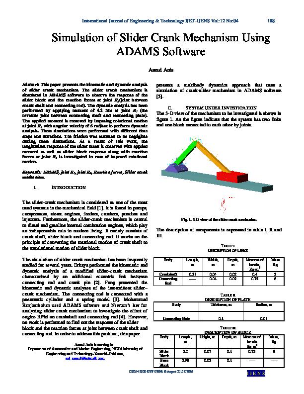PDF) Simulation of Slider Crank Mechanism Using ADAMS
