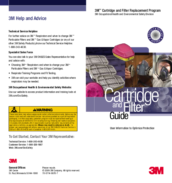 PDF) 3M Help and Advice 3M ™ Cartridge and Filter Replacement