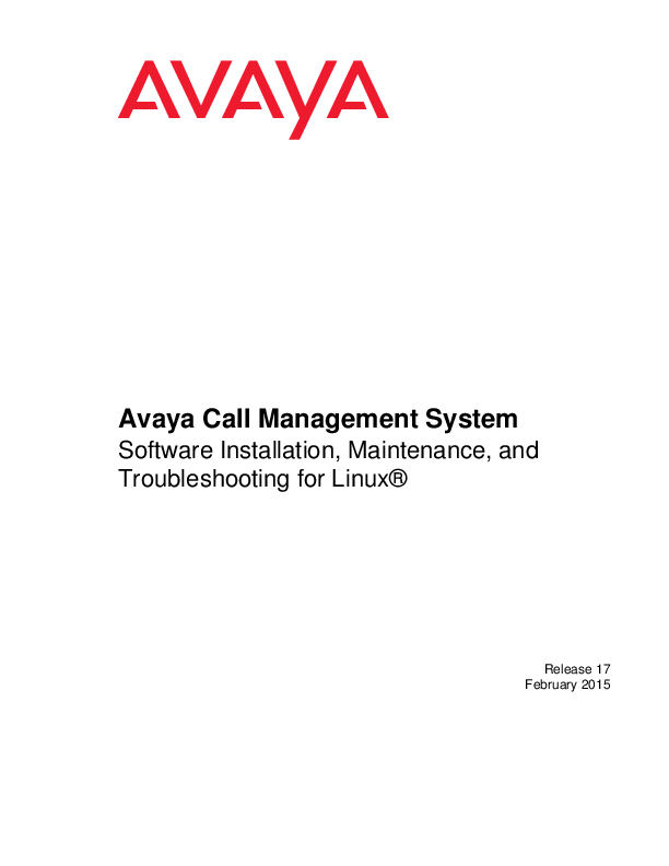PDF) Avaya Call Management System Software Installation, Maintenance