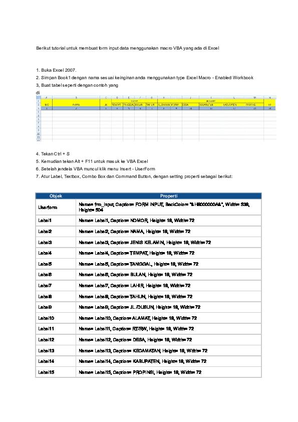 Doc Berikut Tutorial Untuk Membuat Form Input Data Menggunakan Macro Vba Yang Ada Di Excel Akung Tea Academia Edu