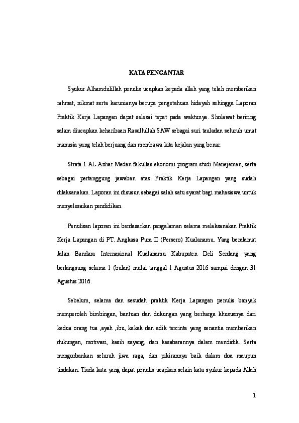 Laporan Pkl Di Pt Angkasa Pura Ii Persero Kualanamu Randra