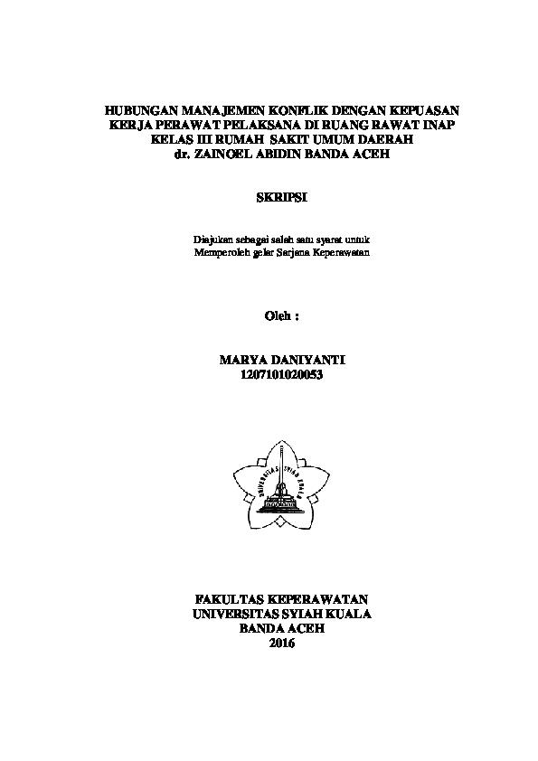 Pdf Hubungan Manajemen Konflik Dengan Kepuasan Kerja Perawat Pdf