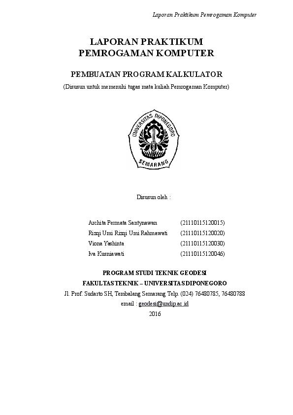 Doc Laporan Pemrograman Komputer Pembuatan Kalkulator Menggunakan Visual Basic Viona Yashinta Academia Edu