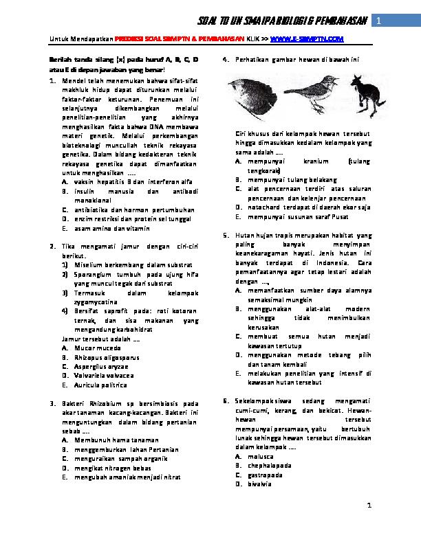 PDF) SOAL TO UN SMA IPA BIOLOGI & PEMBAHASAN   Muchammad