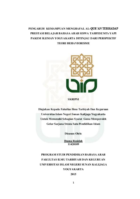 Pdf Pengaruh Kemampuan Menghafal Al Qur An Terhadap Prestasi Belajar Bahasa Arab Siswa Tahfidz Mts Yapi Pakem Sleman Yogyakarta Ditinjau Dari Perspektif Nurjana Nj Academia Edu