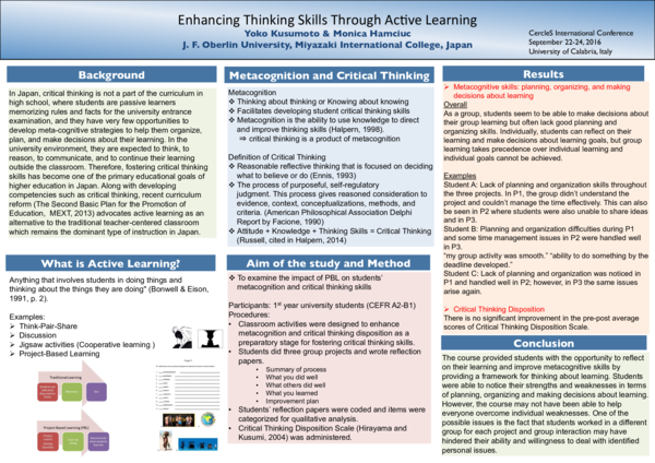 PDF) Enhancing Thinking Skills Through Active Learning | Yoko