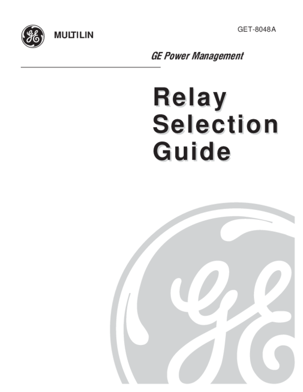 [DIAGRAM_5UK]  PDF) Relay Selection Guide GE Power Management Relay Selection Guide g  GET-8048A | Martin Aro - Academia.edu | Protective Relay Wiring Diagram For Ge |  | Academia.edu